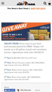 Mills Fleet Farm – Valspar Home Paint Makeover Giveaway – Win 1st PLACE $1000 Mills Fleet Farm Gift Card One winner will receive 2nd Place Werner Extension Ladder