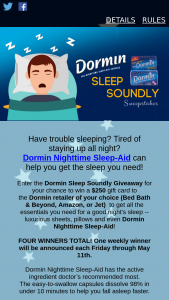 Randob Laboratories – Dormin Sleep Soundly – Win a $250 gift card to a Dormin retailer of their choice (Bed Bath & Beyond