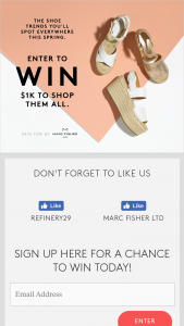 Refinery29 – Marc Fisher Spring Fashion – Win one (1) Prize One (1) Marc Fisher gift card in the amount of one thousand dollars ($1,000) redeemable on marcfisherfootwearcom