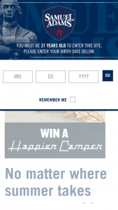 Samual Adams Happier Camper Customization Sweepstakes – Win AHappier Camper Customized By You