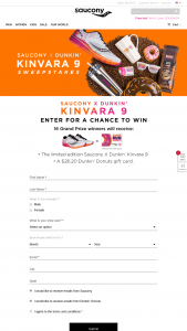 Saucony – Dunkin' Kinvara 9 – Win 1 of 16 prize packs valued at $110 each