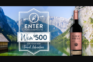 Slow Press Wines – Craft Your Adventure – Win a VISA card in the amount of US$500.00