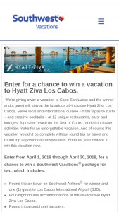 Southwest Vacations – Hyatt Ziva Los Cabos Sweepstakes