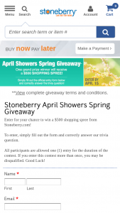 Stoneberry – April Showers Spring Giveaway – Win a $500 shopping spree on Stoneberrycom