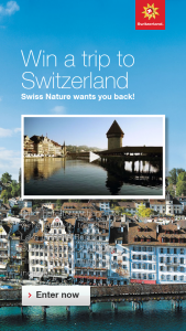 Switzerland Tourism Trip Sweepstakes – Win A3night Trip For Two To The Lake Lucerne Region, Switzerland