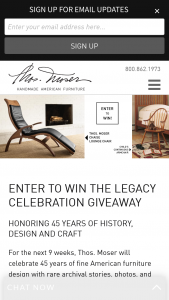 Thos Moser – Legacy Celebration – Win ARV $1210 consisting of one Child's Continuous Arm Chair in Cherry