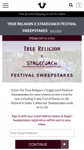 True Religion – Stagecoach Festival – Win one trip for two (winner and one guest) to Indio California