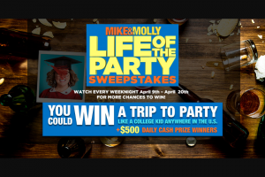 "Warner Bros – Mike & Molly – Win a trip for 2 to a U.S. city plus accommodation and tickets to advanced screening of ""Life of the Party"""