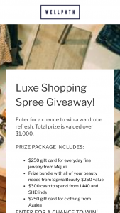 Wellness Creations – Luxe Shopping Spree Getaway – Win with all of your beauty needs from Sigma Beauty $250 value   $300 cash to spend from 1440 and SHEfinds   $250 gift card for clothing from Azalea  Total prize is valued over $1000.