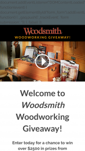 Woodsmith – Woodworking Giveaway – Win a project featured in Woodsmith magazine valued at approximately $500.