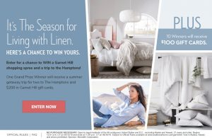 Meredith – Traditional Home – Win a grand prize of a trip for 2 to Bridgehampton, NY OR 1 of 10 Garnet Hill gift cards