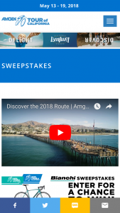 "AEG Cycling – Amgen Tour Of California Sweepstakes Series Bianchi Intenso – Win the following One (1) BIANCHI INTENSO bike (the ""Prize"") (Approximate Retail Value (""ARV"") of Prize $2500.00)."