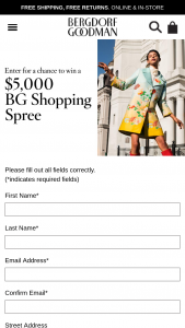 Bergdorf Goodman – $5000 Shopping Spree – Win $5000 Bergdorf Goodman shopping spree