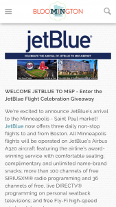 Bloomington Convention And Vistors Bureau – Jetblue Flight Celebration Giveaway Sweepstakes