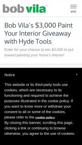Bob Vila – $3000 Paint Your Interior Giveaway With Hyde Tools – Win $3000 to use for a professional painting project