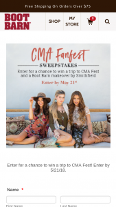 Boot Barn – Cma Music Festival Trip – Win a 4 day / 3 night trip for two (2) people to Nashville