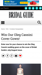 Bridal Guide – Oleg Cassini Cover Gown – Win a $1500 David's Bridal gift card to use for one Oleg Cassini wedding gown style no