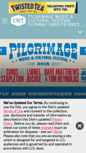 "CMT – Pilgrimage Music & Cultural Festival Fly Away – Win a flyaway trip for two (2) for the Grand Prize Winner and one (1) guest (the ""Guest"") to attend the Pilgrimage Music & Cultural Festival in Franklin"