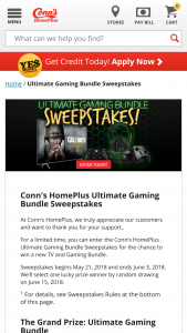 "Conn's Homeplus – Ultimate Gaming Bundle – Win Gaming Bundle Samsung 65"" QLED with HDR Smart 4K UHD TV – QN65Q6FNA Xbox One X 4K Bundle – MCSBDXB1XB2CONNS Comes with extra controller (2 total) Premium gaming headset Call of Duty World War II Game"