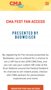 Country Music Association – Trip To The 2019 Cma Fest Sweepstakes