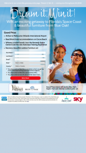 Delta Sky – Dream It Win It Giveaway Spring 2018 – Win a credit of $2500 to choose airline flights into Melbourne/Orlando International Airport