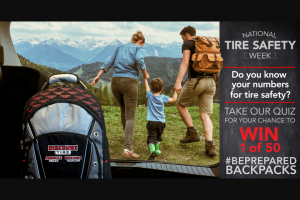 Discount Tire – America's #beprepared Backpack – Win one Discount Tire/America's #BePrepared backpack with an ARV of $150.
