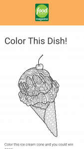 Food Network Magazine – Color This Dish Contest – Win a $500 check (ARV $500).