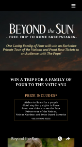 "Grace Hill Media – Free Trip To Rome – Win Rome Italy (""Grand Prize"") for the Winner and three (3) guests"