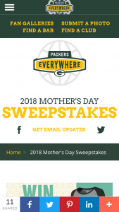 Green Bay Packers – 2018 Mother's Day – Win a $150 Packers Pro Shop gift card