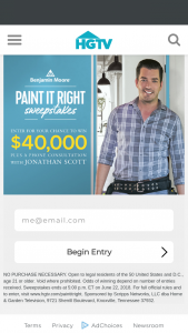 "HGTV – Benjamin Moore's Paint It Right – Win the following (the ""Grand Prize"") (i) $40000 presented in the form of a check and (ii) a 30-minute design consultation via video chat with Jonathan Scott"