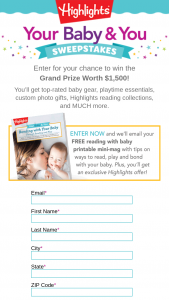 Highlights – Your Baby & You – Win one (1) 1-year subscription to Highlights Hello magazine