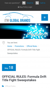 ITW Global Brands – Forumla Drift Title Fight – Win be awarded a trip for two (2) to the O'Reilly Formula Drift Title Fight in Long Beach California on October 12-13  2018 subject to the restrictions below