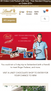 Lindt – Meet Roger Federer – Win of a TRIP FOR TWO TO SWITZERLAND ARV of airline travel based on departure from Los Angeles International Airport is $28000 USD ($14000 per business class ticket).