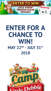"Mckee Foods – Camp Little Debbie Instant Win Giveaway – Win DEBBIE® branded YETI Tundra 45 premium cooler (ARV $299.99) (the ""Prize"")."