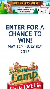 "Mckee Foods – Camp Little Debbie Instant Win Giveaway – Win DEBBIE® branded YETI Tundra 45 premium cooler (ARV $299.99) (the ""Prize"")."