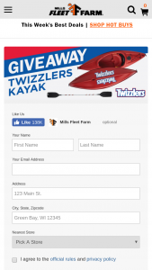 Mills Fleet Farm – Twizzler Kayak Giveaway – Win paddle Approximate Retail Value $550.00