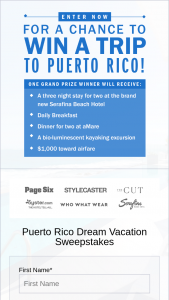 New York Post – Page Six Puerto Rico Dream Vacation Sweepstakes