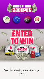 """Novamex – Uncap The Jackpot – Win Event (""""First Prize Event"""") for a chance to win up to $30000."""