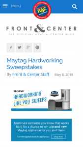 Rent-A-Center – Maytag Hardworking Like You – Win one Maytag 5.2 Cu