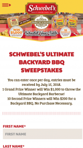 Schwebel's – Ultimate Backyard Barbecue – Win Card