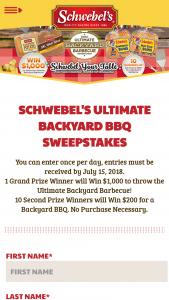 Schwebel's – Ultimate Backyard Barbecue – Win Card