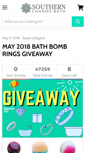 Southern Charms Bath – May 2018 Bath Bomb Rings Giveaway – Win Kit With a Blue Sapphire 10k White Gold Ring Worth $500.