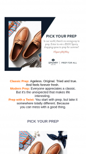 Sperry Top-Sider – Pick Your Prep – Win Sperry Gift Card