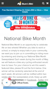 Sun & Ski – National Bike Month – Win the featured bike