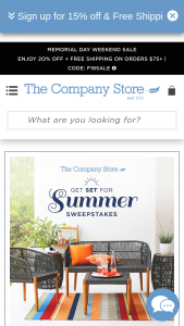 The Company Store – Get Set For Summer – Win One Complete Palo Alto Collection from (One Palo Alto Lounge Chair One Palo Alto Love Seat One Palo Alto Barrel Table and One Palo Alto Ottoman).