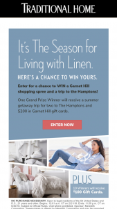 Traditional Home – Living With Linen – Win one $100 Garnet Hill gift card