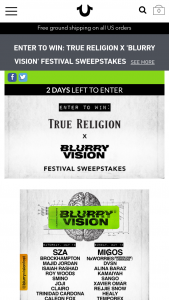 True Religion – Blurry Vision Festival – Win one trip for two (winner and one guest) to Oakland California