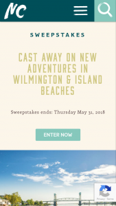 Visit North Carolina – Cast Away On New Adventures In Wilmington & Island Beaches – Win package is $1307.76 and the total cash value is $500.