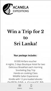 Acanela – Win A Trip To Sri Lanka For 2 Sweepstakes