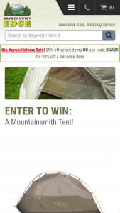 Backcountry Edge – Mountainsmith Tent Giveaway – Win one (1) Mountainsmith Vasquez Peak 3 w/ Footprint 3-Season Backpacking Tent